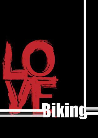 hintergrund liebe: Modische Hintergrund. Wei�en und roten Buchstaben auf einem schwarzen Hintergrund. Liebe-Radfahren Illustration