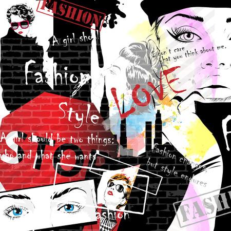 stile: Moda ragazze a sketch-style. Sfondo in stile grunge. Illustrazione vettoriale Vettoriali