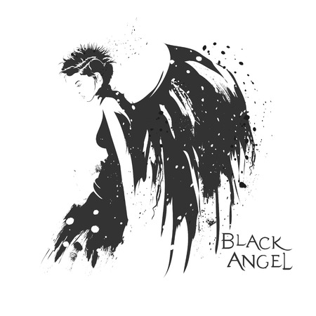 sexy angel: The modern girl with wings of an angel in style grunge. Illustration