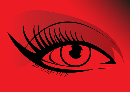 close up eye: Woman eye on a red background