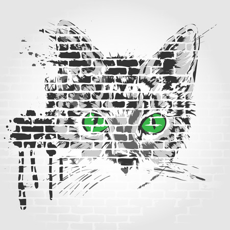 defenseless: Gray cat with green eyes on a gray background Illustration