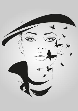 silhouette femme: Fashion girl au croquis de style. Vector illustration. Illustration