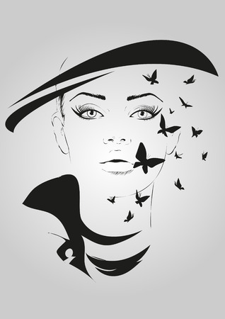 young woman face: Fashion girl in sketch-style. Vector illustration.