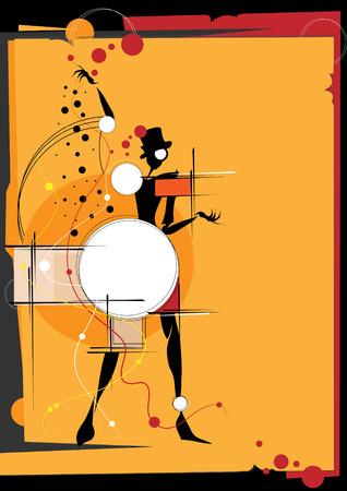cubismo: La muchacha en el estilo de un cubismo. Cuadrados, pinturas, fondo negro