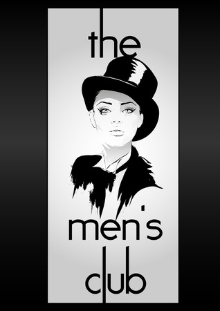 bourbon whisky: mens club vintage labels with fashion girl Illustration