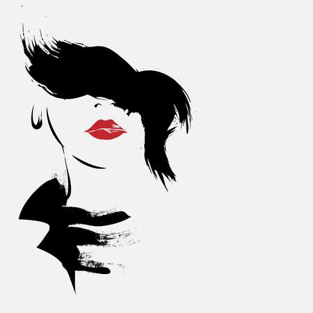 スケッチ スタイルのファッションの女の子。ベクトルの図。