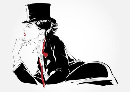 Fashion girl au croquis de style. Vector illustration. Banque d'images - 39302471