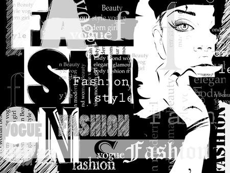時尚: 時尚女孩草圖風格。插圖。