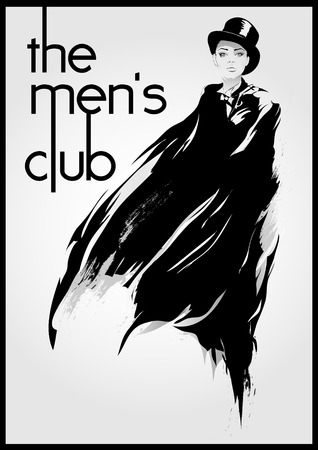 men s: mens club vintage labels with fashion girl Illustration