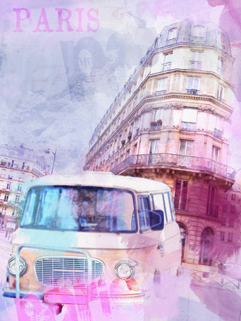 beautiful image of Paris on watercolor background photo