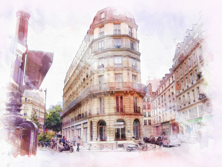 old towns: beautiful image of Paris on watercolor background