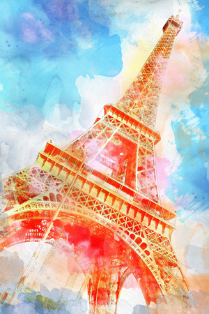 urban art: Eiffel-tower in Watercolor illustration