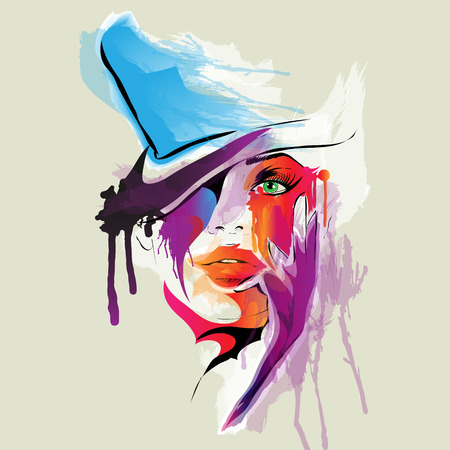 fashion girl style: Abstract woman face illustration