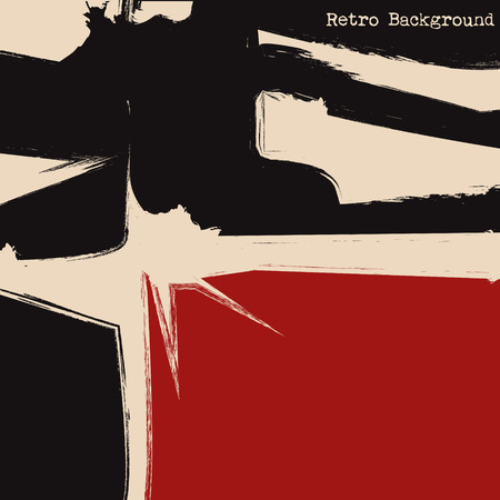 bauhaus: Black and red squares. Cubism background. Vector illustration