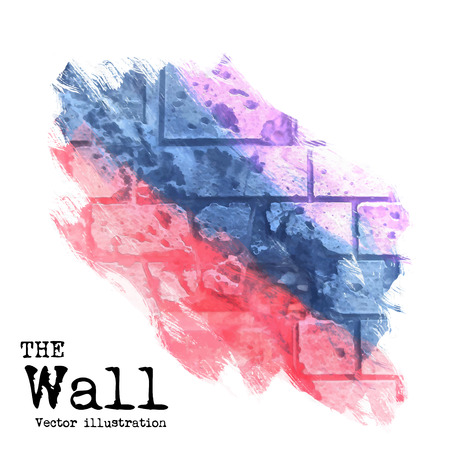 painted wall: abstract background, brick wall painted with spots of different colors, vector illustration Illustration