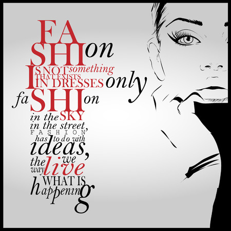 ladies fashion: Fashion quote with modern girl in a dress. Vector art.