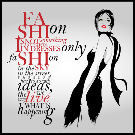 Fashion quote with modern girl in a dress.  Çizim