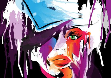 arte moderno: Cara de mujer abstracta. Vectores