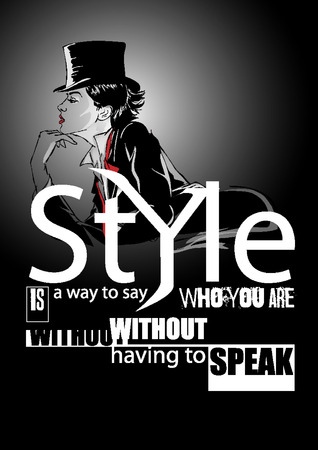 Fashion quote with modern girl in a dress.  Ilustrace