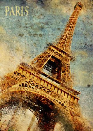 Paris. Eiffel-tower grunge illustration, Artwork. Stock Photo