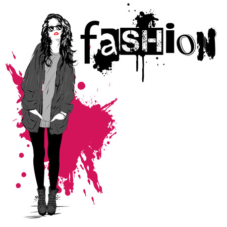 fashion girl: Fashion girl in sketch-style. Vector illustration.
