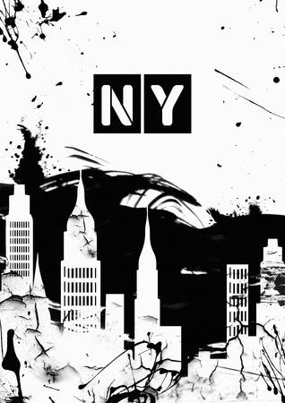 sky scrapers: grunge image of new york. Black and White Stock Photo