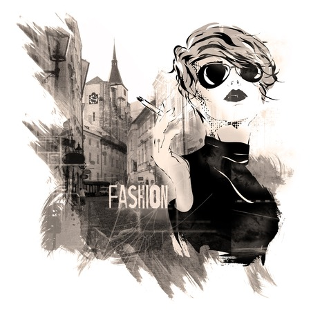 Fashion girl in sketch-style. Grunge illustration. Banco de Imagens