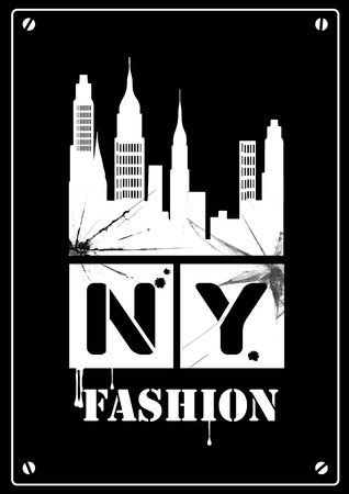 down town: grunge image of new york. Black and White Illustration