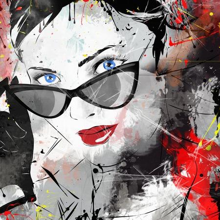 Fashion girl in sketch-style. Grunge illustration. Stock Photo