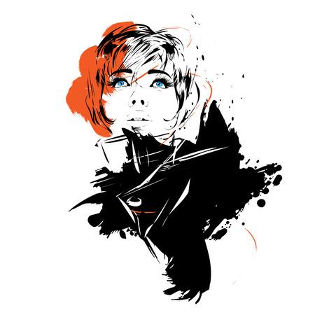 Mode meisje in schets stijl. Vector illustratie.