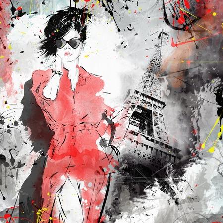 moda ropa: Chica de moda en el estilo de dibujo. Grunge ilustración.