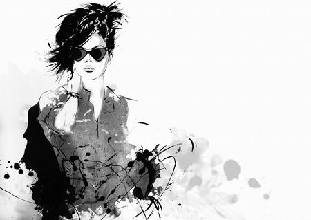 Fashion girl in sketch-style. Grunge illustration. illustration