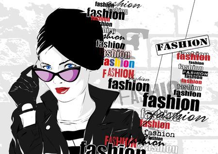 fashion girl: Fashion girl in sketch-style.  Illustration