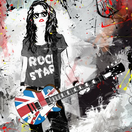 grunge music background: Fashionable woman with guitar. Rock star. Grunge illustration Stock Photo