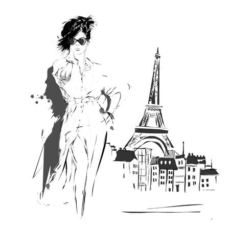 sexy woman: Fashion girl in sketch-style. Vector illustration.