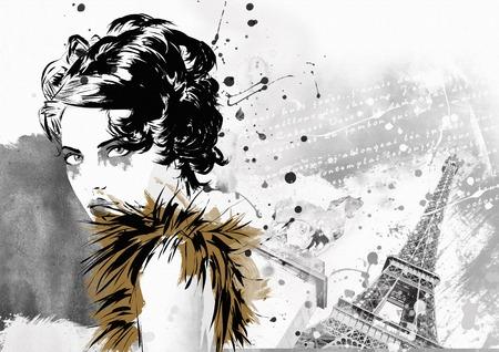 Fashion Mädchen in Sketch Stil. Grunge-Illustration.