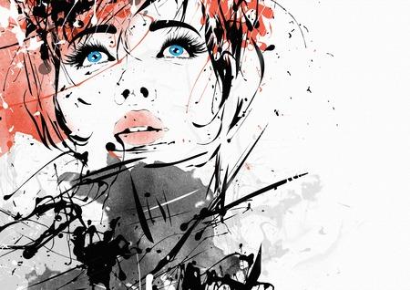 Fashion girl in sketch-style. Grunge illustration. Stockfoto