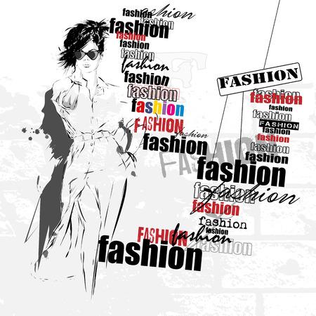 Mode meisje in schets-stijl. Stock Illustratie