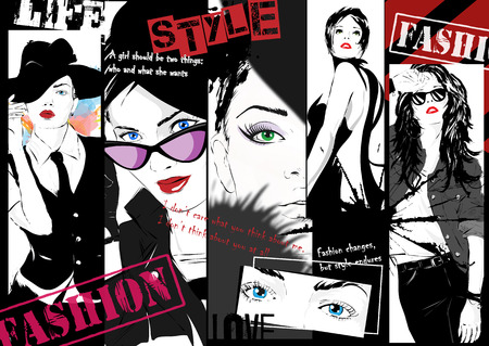 fashion girl: Fashion girl in sketch-style.
