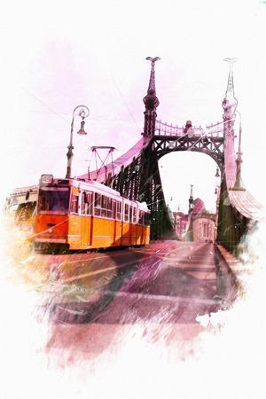 gondolier: watercolor illustration Budapest. Liberty Bridge view