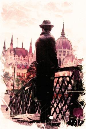 gondolier: watercolor illustration Budapest.