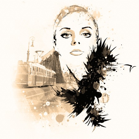vogue: A sketch of the young woman. Grunge illustration