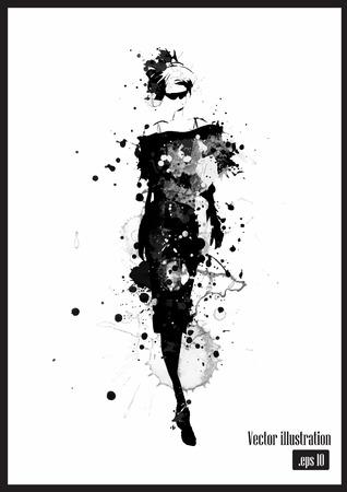 Mode meisje in schets-stijl. Vector illustratie. Stockfoto - 42137739