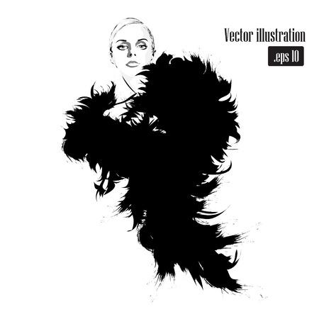 Fashion girl au croquis de style. Vector illustration. Banque d'images - 42137741