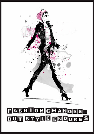 Fashion quote with modern girl. Vector art. Stock Illustratie