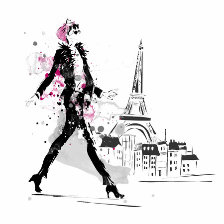 fashion: Fashion Mädchen in Sketch Stil. Vektor-Illustration.
