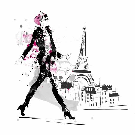 thời trang: Thời trang cô gái trong bức phác họa theo phong cách. Vector hình minh họa.