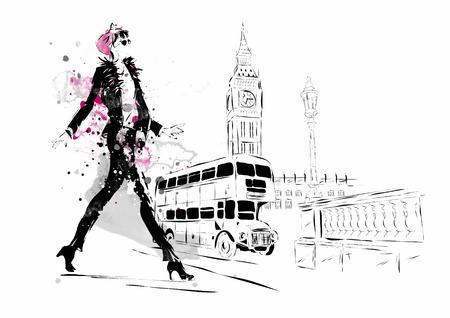 Mode meisje in schets-stijl. Vector illustratie. Stock Illustratie