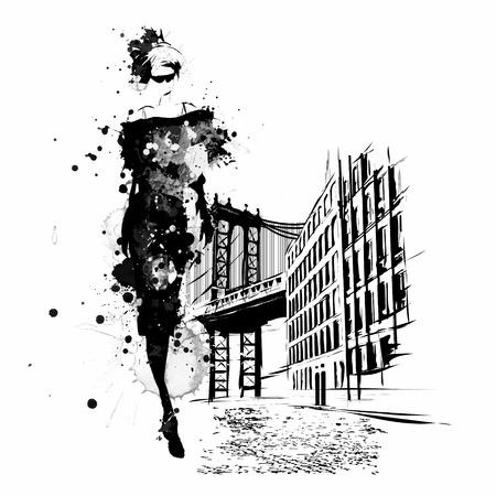 mannequin: Fashion girl au croquis de style. Vector illustration. Illustration
