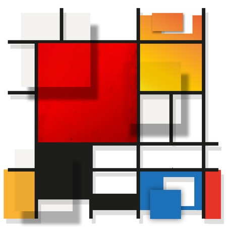piet: Geometric suprematism pattern in style neo-plasticism abstract art Stock Photo